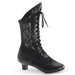 Pleaser Dame-115 Black Lace Victorian Vintage Style Wild West Boots Shoes at Sears.com