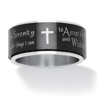 PalmBeach Jewelry Men's Serenity Prayer Cross Ring in Black IP Stainless Steel and Stainless Steel