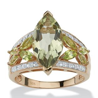 Angelina D'Andrea 4.83 TCW Marquise-Cut Genuine Green Amethyst and Peridot 18k Gold over Sterling Silver Ring at Sears.com
