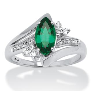 PalmBeach Jewelry 1.52 TCW Marquise-Cut Lab Created Emerald and Round Cubic Zirconia Accent Ring in Platinum Over Sterling Silver at Sears.com