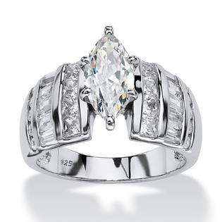 Palm Beach Jewelry 3.87 TCW Marquise-Cut Cubic Zirconia Platinum Over Sterling Silver Engagement Anniversary Ring at Sears.com