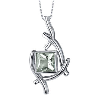 peora Artistic Design 1.50 carats Princess Cut Sterling Silver Green Amethyst Pendant at Sears.com