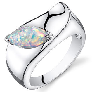 peora Opal Ring Sterling Silver Marquise Cut 1.00 Carats Size 5