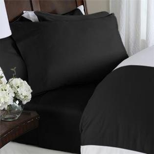 sheetsnthings Solid Black 450 Thread Count Queen Attached Waterbed Sheet Set with Pole attachments 100% Egyptian Cotton at Sears.com