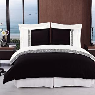 sheetsnthings 8PC Full Size EMB Astrid Black/White bed in a bag set Including: 4pc Sheet set+ 3pc duvet cover set+1pc down Alter. comforter at Sears.com