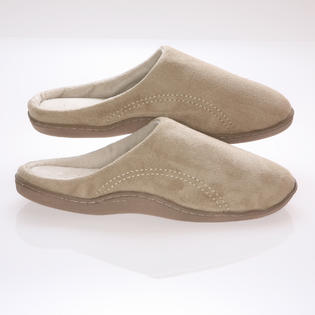 Deluxe Comfort Men's Memory foam Slippers - Beige Suede micro fleece slippers with Side Stitches - 9-10 at Sears.com