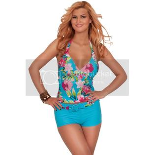Hot From Hollywood Two Piece Adjustable Halter Tankini Belted Boy Short Bikini Swimsuit, PINK PAISLEY - 3 Small at Sears.com