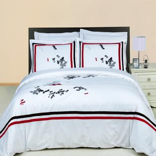 GoLinens: Luxury White, Black, Red and Gray Florence Embroidered Egyptian cotton Down Alternative Comforter with Pillow Shams