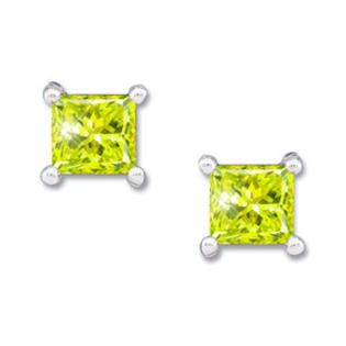 Created Diamonds Princess Cut Platinum Stud Earrings with Greenish-Yellow Diamond 0.1+ carat each Princess cut at Sears.com
