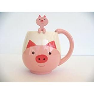 Decole Japan Japanese Cute Pig Coffee Mug cup with little hanging spoon at Sears.com