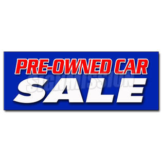 "SignMission 48"" PRE-OWNED CAR SALE DECAL sticker used auto automobile buy here we finance at Sears.com"