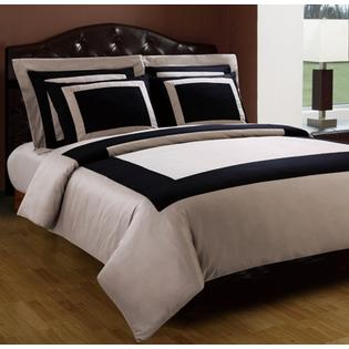 Scotts-sales Queen size 10PC Black/Taupe Hotel Down Alternative Bed in a bag 300 Thread count 100% Egyptian cotton at Sears.com