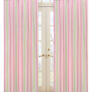 Sweet Jojo Designs Pink and Green Stripe 84-inch Curtain Panel Pair at Sears.com