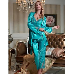 0cb892c043 www.virtualstoreusa.com Women Satin Silk Pajamas Red Three-Piece Pyjama Sets  Lace