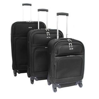 Kemyer 3-Piece Expandable Upright Spinner Luggage Set - Black