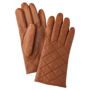 Merona Merona Womens Quilted Tan Leather Gloves