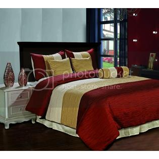 CozyBeddings Amber 7pc Jacquard Comforter Set Burgundy, Gold, Champagne Metallic Colors Fused Pleating Stripes Bed Cover Full Size Bedding at Sears.com