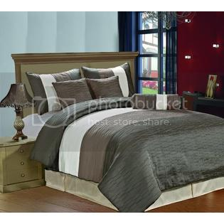 CozyBeddings Amber 7pc Jacquard Comforter Set Charcoal Grey, Coffee, Grey, Cream Metallic Colors Fused Pleating Stripes Bed Cover FULL Size at Sears.com