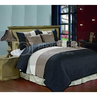 CozyBeddings Amber 7pc Jacquard Comforter Set Deep Black, Taupe, Cream Metallic Color Fused Pleating Stripes Bed Cover FULL Size at Sears.com
