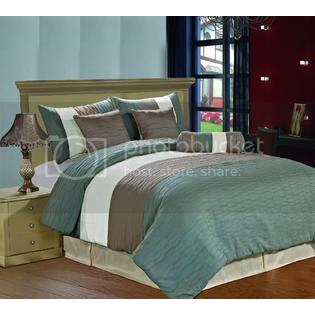CozyBeddings Amber 7pc Jacquard Comforter Set Mineral Blue, Cream, Metallic Colors Fused Pleated Stripes Bed Cover QUEEN Size at Sears.com
