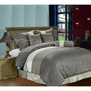 CozyBeddings Amber 7pc Jacquard Comforter Set Silver, Tan, Cream, Metallic Colors Fused Pleated Stripes Bed Cover QUEEN Size at Sears.com