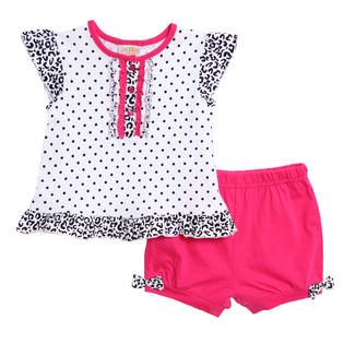 Absorba Toddler Girls 2 Piece Hot Pink Black Polka Dot Leopard Top Shorts at Sears.com