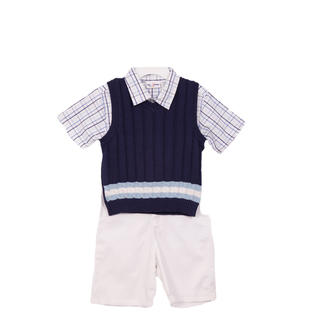 B. T. Kids Boys (4-7) 3pc navy ribbed sweater vest & white shorts set at Sears.com
