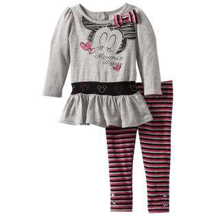 Disney Infant Baby Girls 2 Piece Minnie Mouse Tunic Top Pink Striped Leggings at Sears.com