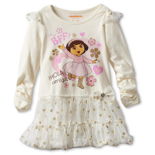 Nickelodeon Infant Baby Girls 2 Piece Ivory Dora the Explorer Gold Tutu Dress at Sears.com