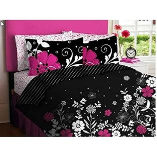 Kids Bedding Pink, White & Black Teen Girls Queen Comforter & Sheet Set (7 Piece Bed In A Bag) at Sears.com