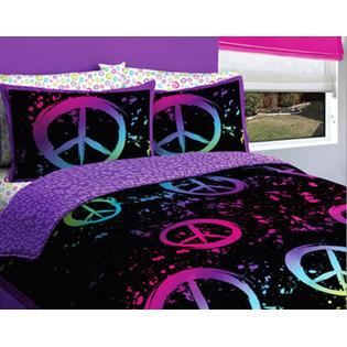 CREATIVE KIDS Black, Purple & Pink Peace Signs Teen Girls Full Comforter Set (7 Piece Bed In A Bag) at Sears.com