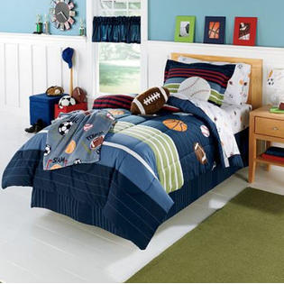 Kids Bedding MVP Sports Boys Baseball Basketball Football Full Comforter Set 7 Piece Bed In A Bag