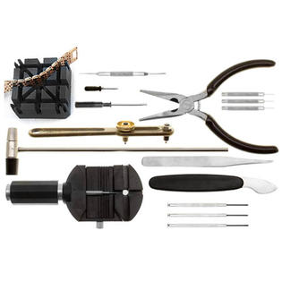 ocg 16-Piece Deluxe Watch Repair Tool Kit with Watchband Link Pin Remover, Spring Bar Remover, Hammer & More at Sears.com