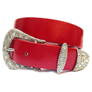 Crazy4bling Red Patent Leather Belt With Clear Rhinestone Buckle, Size M/L at Sears.com