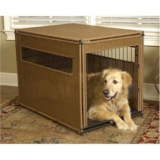 Mr. Herzher's Wicker Dog Crate - Large/Dark Brown