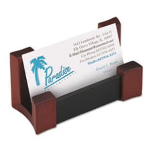 MotivationUSA * Wood/Leather Business Card Holder, Capacity 50 2 1/4 x 4 Cards, Black/ at Sears.com