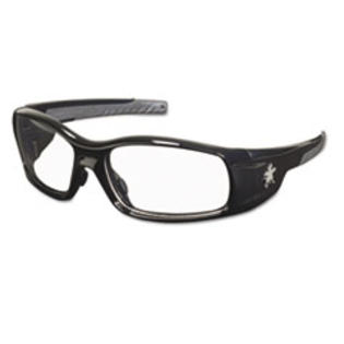Crews * Swagger Safety Glasses, Black Frame, Clear Lens
