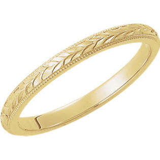 Myriams Boutique 14kt Yellow 2mm Hand Engraved Band Size 12.5