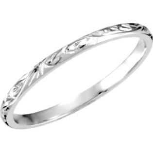 Myriams Boutique 14kt White 2mm Hand Engraved Band Size 9
