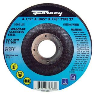 "Forney Industries Cutting Wheel 4-1/2"" X 0.045 X 7/8"" - Stainless Steel at Sears.com"