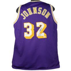 cf075763e Press Pass Collectibles Lakers Magic Johnson  HOF 02  Authentic Signed  Purple Jersey PSA