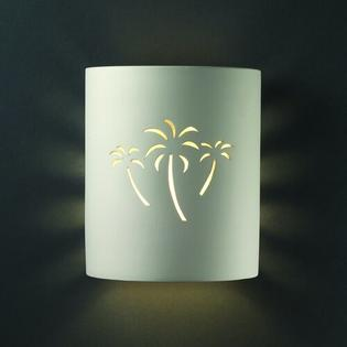 Justice Design Group Sun Dagger Open Top and Bottom Small Cylinder Outdoor Wall Sconce - Finish: Carrara Marble, Cutout Option: Trees at Sears.com