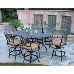 Meadow Decor Kingston 7 Piece Counter Height Dining Set - Fabric: Linen Sesame, Finish: Black at Sears.com
