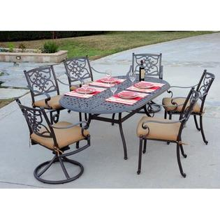 Meadow Decor Kingston 7 Piece Dining Set - Finish: Black, Fabric: Davidson Redwood at Sears.com