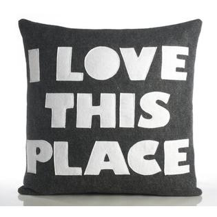 "alexandra ferguson ""I Love This Place"" Decorative Pillow - Size: 16"" x 16"", Material: Oatmeal / Turquoise Felt at Sears.com"