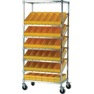 "Quantum 21"" Slanted Wire Pick Racks Storage Unit w/ Euro Drawers -Bin Dimensions:4 5/8"" Hx5 9/16"" Wx17 5/8"" D (qty. 36), Bin Color:Red at Sears.com"