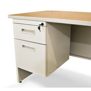 "Marvel Office Furniture Pronto 72"" Single Pedestal Computer Desk - Color: Oak Laminate/Putty at Sears.com"