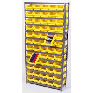 "Quantum Economy Shelf Bin Storage Units (75"" H x36"" Wx12"" D) -Bin Dimensions:4"" Hx8 3/8"" Wx11 5/8"" D (qty. 48), Bin Color:Black at Sears.com"