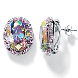 Palm Beach Jewelry Silvertone Aurora Borealis/Pink Cubic Zirconia Earrings at Sears.com