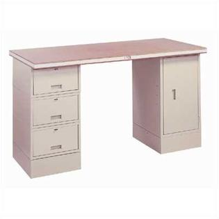 "LYON Drawer/Cabinet Modular Work Station: 72""W x 28"" D - Station Color: Putty, Top Construction: 12-Gauge Steel at Sears.com"